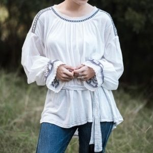 New Free People White Embroidered Tunic - Small